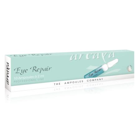 Eye Repair 10er Ampullenpackung in der Farbe mintgrün und weiß.