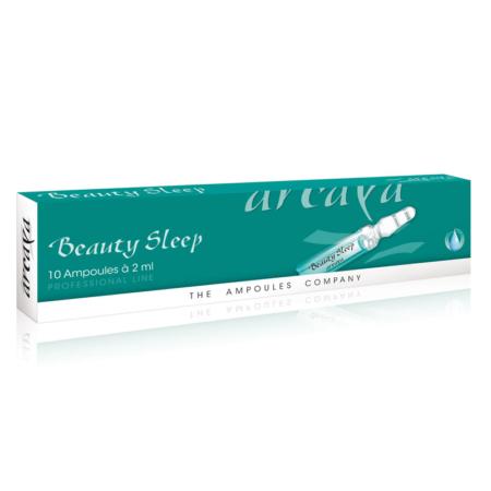 Beauty Sleep 10er Ampullenpackung in der Farbe dunkelgrün und weiß.