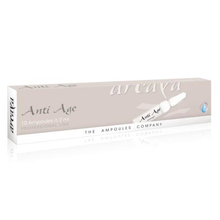 Anti Age 10er Ampullenpackung in der Farbe hellgrau und weiß.