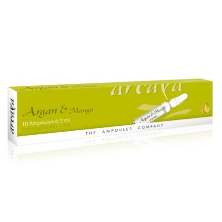 Argan und Mango 10er Ampullenpackung in der Farbe kiwigrün und weiß.
