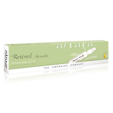 Retionol Avocardo 10er Ampullenpackung in der Farbe grün und weiß.