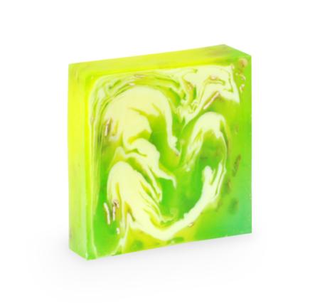 Seife im grün-gelben Muster.