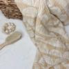 Musselintuch beige mit weißen Regenbögen
