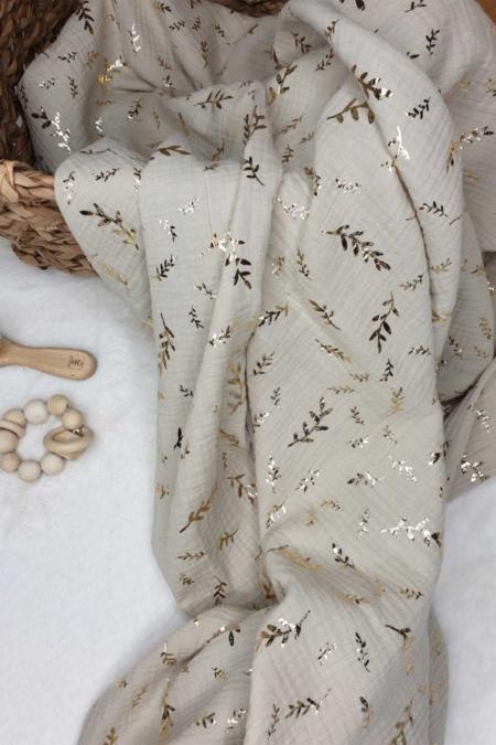 Musselintuch in sand mit goldenen Zweigen 120x120cm