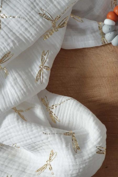 Musselintuch in weiß mit goldenen Libellen 60x60cm