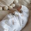 Musselintuch in weiß mit goldenen Libellen 120x120cm