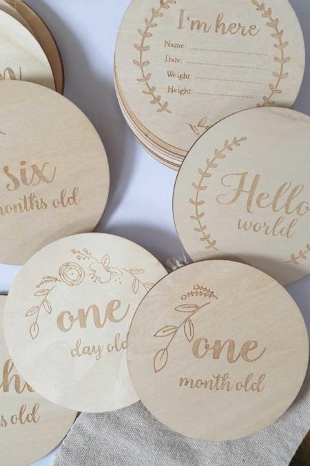 Meilensteinkarten aus Holz